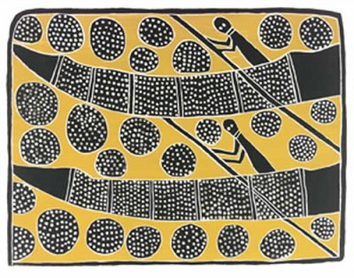 George Milpurrurru, Hunting for Magpie Geese Eggs (Memorial edition), Aboriginal art