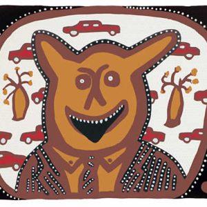 Hector Jandany and Adam Rish, Dewari (devil) on the Midday Show, Aboriginal art