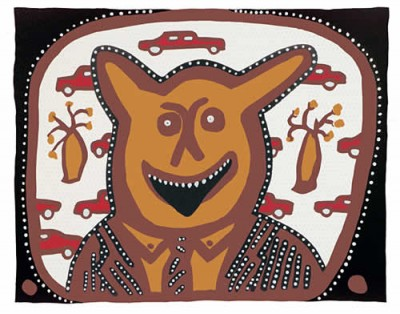 Hector Jandany and Adam Rish, Dewari (devil) on the Midday Show, Aboriginal art
