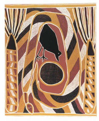 Namiyal Bopirri. Crow and Widitj (Wagilag Story), Aboriginal art