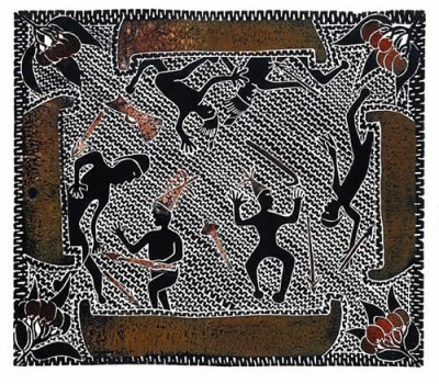 Victor Motlop, Battle During Trading, Torres Strait Islander art