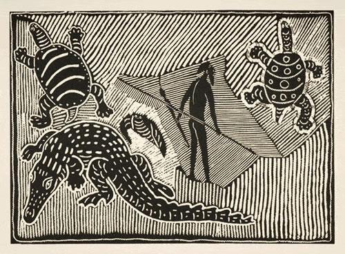 Mervyn Street , Crocodile & Turtle, Aboriginal art