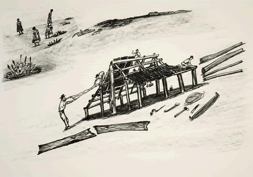 Mervyn Street , Building Paperbark House, Aboriginal art