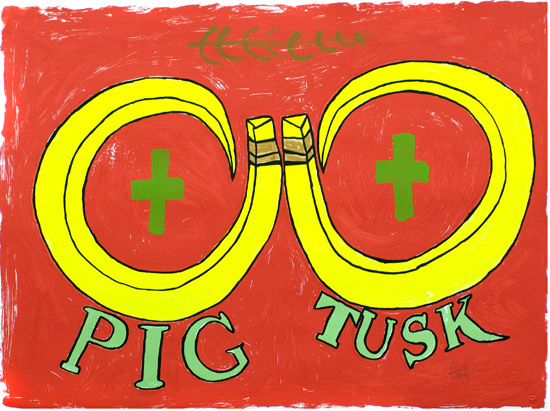 Stanley Firiam, Pig Tusk (Red), Vanuatu art