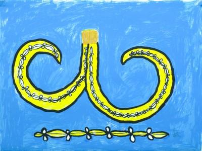 Stanley Firiam, Pig Tusk (Blue), Vanuatu art