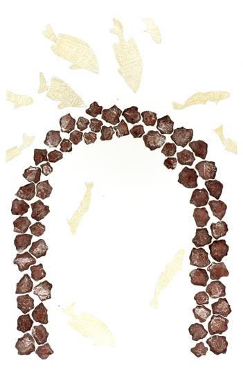 Dennis Nona, Wapiew Kulal (Fish Rocks), Torres Strait Islander art