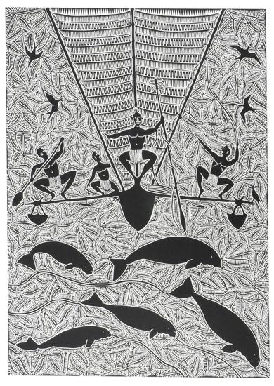 Billy Missi, Dhangalalh Thaiyaik Drifting for Dugong, Torres Strait Islander art