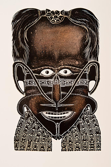 Alick Tipoti, Samul Mawa - Sorcerer Mask with Cassowary Feathers, Torres Strait Islander art