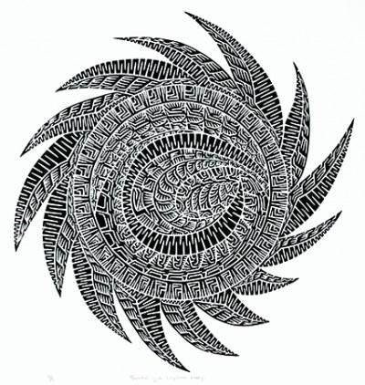 Joel Sam, Marrkai Gub - Cyclone Larry, Torres Strait Islander art