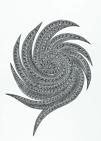 Joel Sam, Marrkai Gub - Cyclone Yasi, Torres Strait Islander art