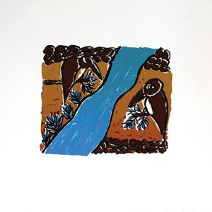 Nancy Cowan, Kingfishers singing out to each other across the river, Aboriginal art