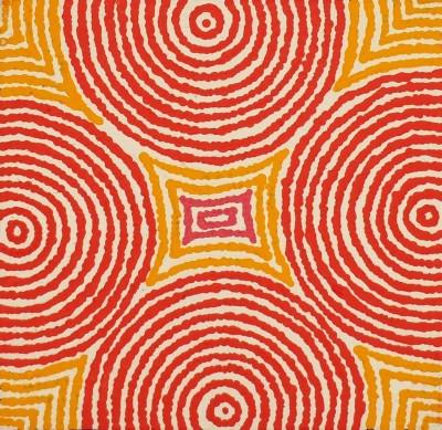 Theo (Faye) Nangala Hudson, Warlukurlangu Jukurrpa - Fire Country Dreaming, Aboriginal art