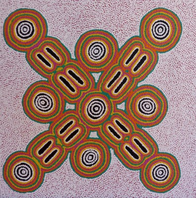 Juliette Nampijinpa Brown, Ngapa Jukurrpa - Water Dreaming - Mikanji, Aboriginal art
