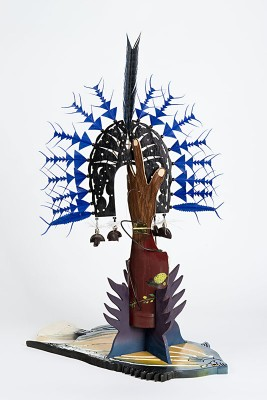 Ken Thaiday, Fish Trap and Sea Dari Headdress - Bat Fish, Torres Strait Islander art