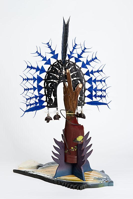 Ken Thaiday, Fish Trap and Sea Dari Headdress - Bat Fish, Torres Strait Islander art