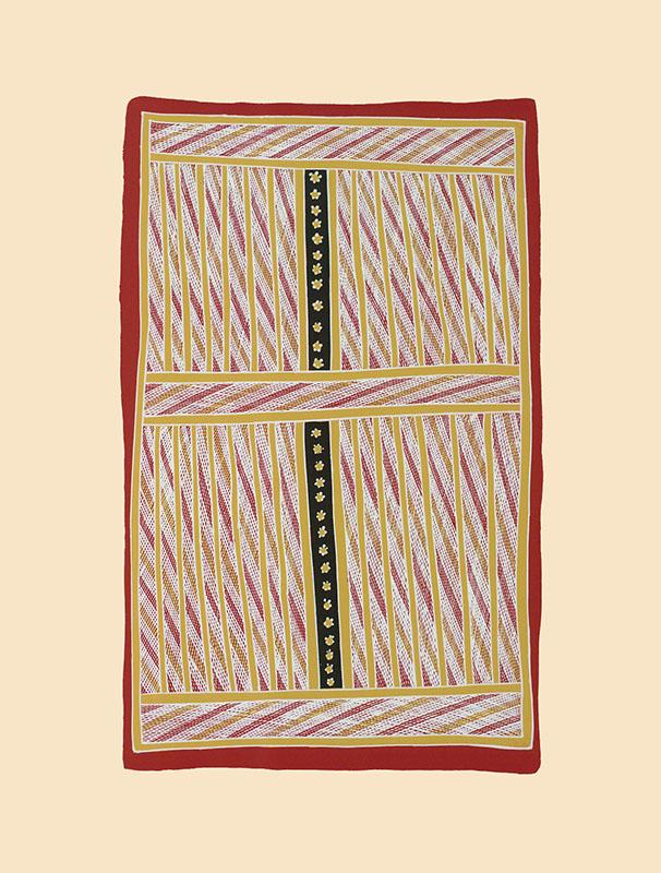 Johnny Bulunbulun, Body Design III - Warrnyu Black Flying Fox, Aboriginal art