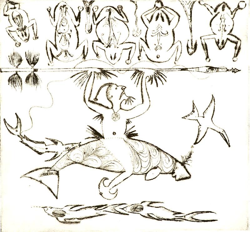 Dennis Nona, Samul Wap - Cassowary Harpoon, Torres Strait Islander art