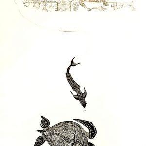 Dennis Nona, Waru Gapu I - Turtle and Remora, Torres Strait Islander art