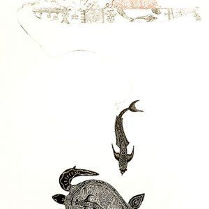 Dennis Nona, Waru Gapu II - Turtle and Remora ,Torres Strait Islander art