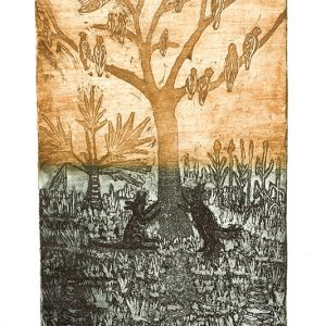 Aboriginal art, Sid Bruce Short Joe, Dogs Barking at Corellas