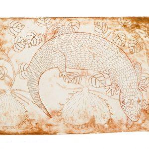 Aboriginal art, Sid Bruce Short Joe, Blue Tongue Lizard Totem