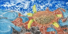 Brian Robinson, Waterworld of Waiben where Warul swim through woven waters, Torres Strait Islander art