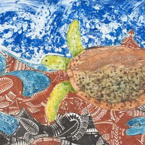 Brian Robinson, Waterworld of Waiben where Warul swim through woven waters, Torres Strait Islander art
