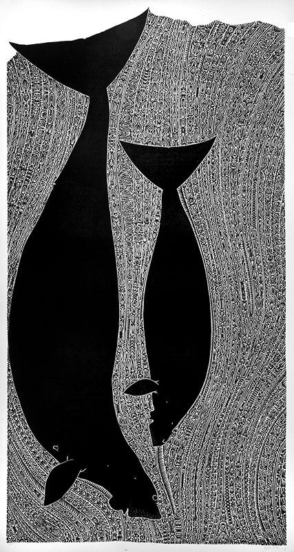 Apu Kaz I, linocut, Alick Tipoti, Torres Strait Islander artist