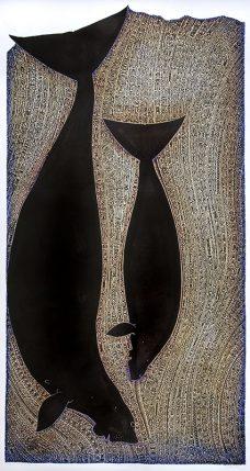 Apu Kaz III, linocut, Alick Tipoti, Torres Strait Islander artist