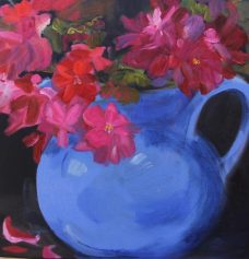 Carolyn Lockhart, Geraniums in a Vintage Jug, Australian art