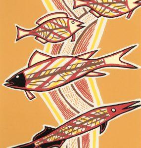 Doris Gingingara, Freshwater Fish (Dry Season), Aboriginal art