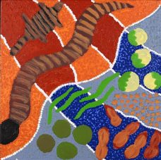 Warna Jukurrpa - Snake Dreaming, Gwenda Nakamarra Gill, Aboriginal art