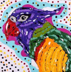 Jurlpu kuja kalu nyinami Yurntumu-wana - Birds that live around Yuendumu, Cherylyn Napangardi Granites, Aboriginal art