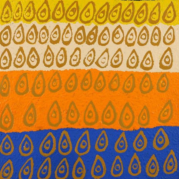 Lukarrara Jukurrpa -Desert Fringe-rush Seed Dreaming, Maisie Napurrurla Wayne, Aboriginal art
