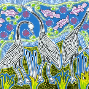Roslyn Kemp, Three Jabirus, Australian Aboriginal art